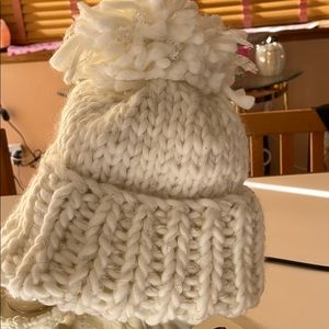 Maurices Stocking hat cream with sparkle.